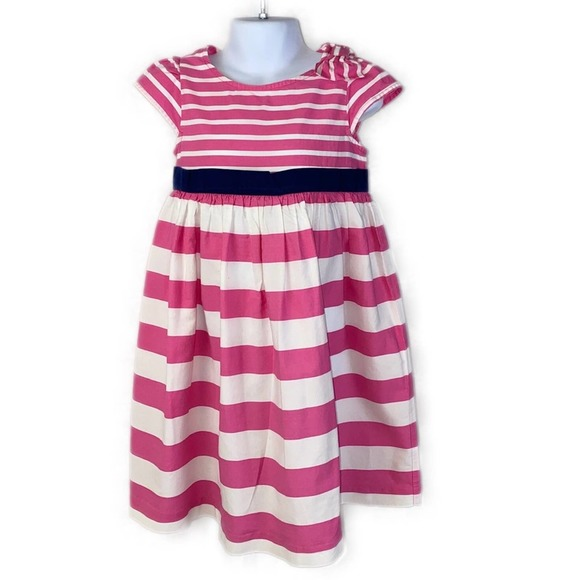 Gymboree Pink & White Striped Dress Navy Accent 5T
